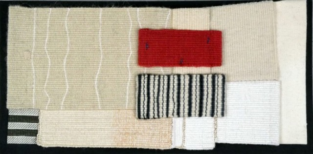 Wall, J - Hugger Mugger[Woven Tapestry Wool, linen, silk and found fabric on wood block] Image supplied by artist. Ref www.jacywall.co.uk