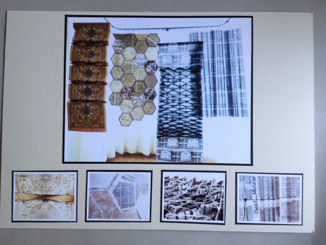 Board 2 - showing all 4 hanging textile pieces