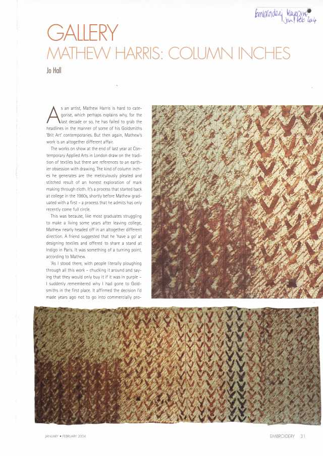 REF - EMBROIDERY MAGAZINE  Jan / Feb 2014