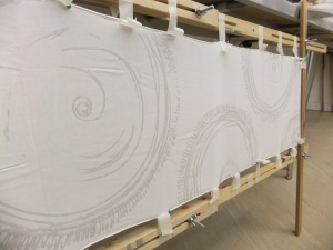 Painting on the devore paste onto a stretch silk velvet scarf
